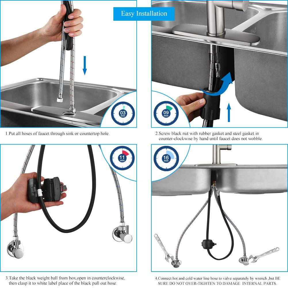 Kitchen Faucet Pull Down-Arofa A01LY Commercial Modern Single Hole Single Handle high arc Stainless Steel Brushed Nickel Kitchen Sink faucets with Pull Out Sprayer by Arofa (Image #3)