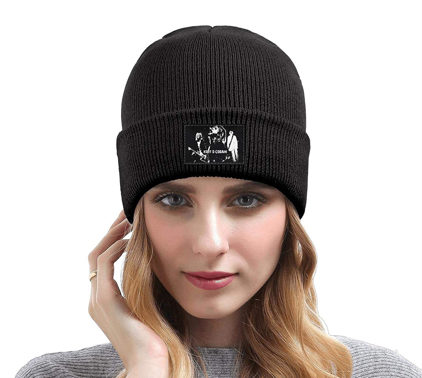 70c468e92 Uuu Hhhyy Kurt-Cobain- Hat Winter Warm Wool Ribbed Watch Cap Black ...