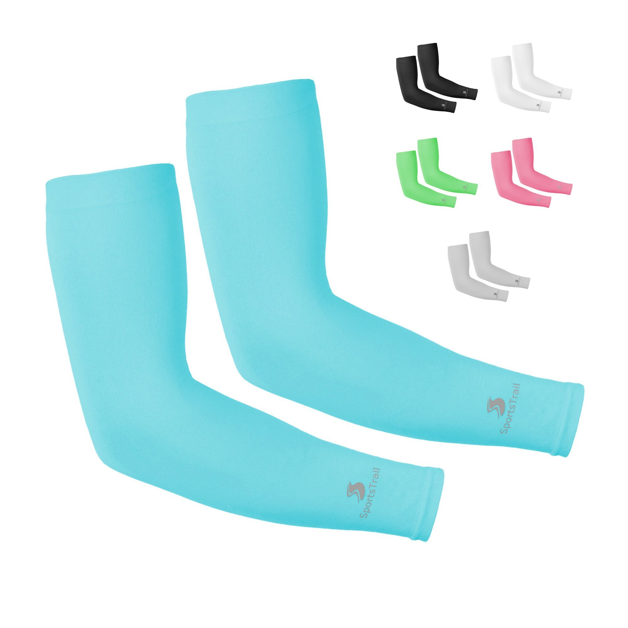 SportsTrail Arm Sleeves for Men & Women, Tatoo Cover up Sleeves to Cover Arms, 1 Pair (Turquoise Blue)