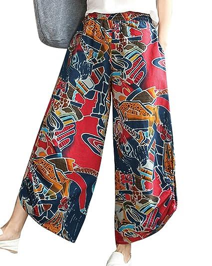 Damen Leichte Sommerhosen Baggy Gemusterte Hosen Schlaghose Strandhose Mit Taschen  Burgunderrot M  Amazon.de  Bekleidung 9127af3fb7