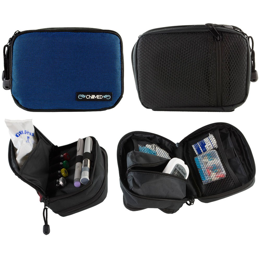 ChillMED Today Diabetic Insulin Cooler Bag Travel Case with Cold Pack (Blue)