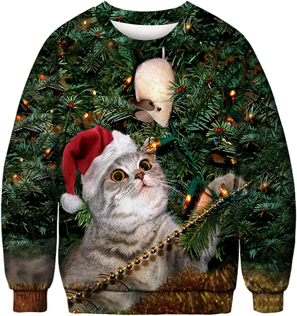 FLYCHEN Sudadera de Navidad Mujer Sin Capucha Impreso Funny 3D Christmas Colorido Divertido Sudaderas Cuello Redondo Azar Ugly