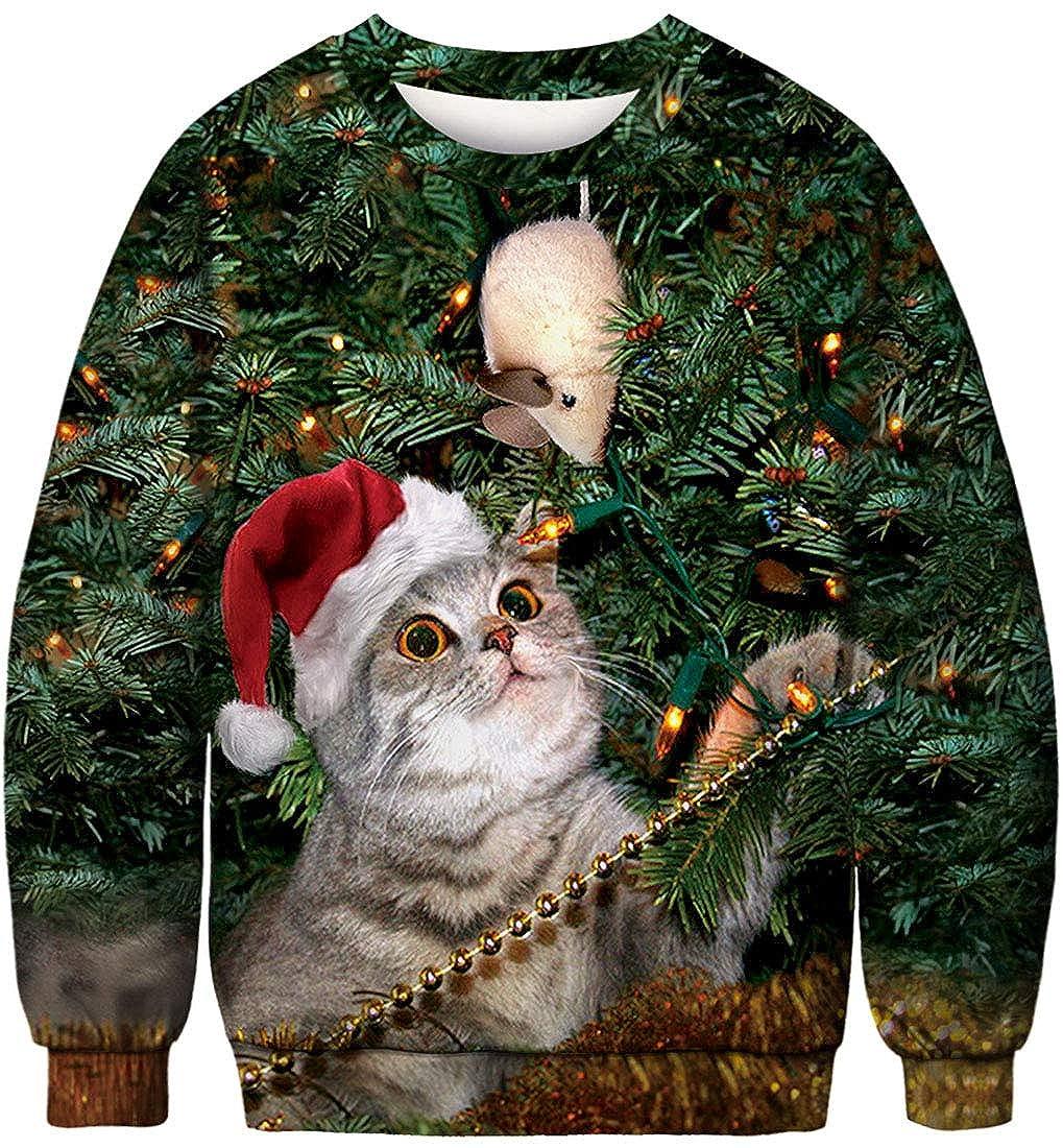 FLYCHEN Sudadera de Navidad Mujer Sin Capucha Impreso Funny 3D Christmas Colorido Divertido Sudaderas Cuello Redondo Azar Gato y ratón - M