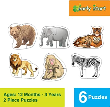 Bettersphere Wild Animals Puzzles 6 x 2 Pieces 12 Months - 3 Years (Puzzles for Kids, Floor Puzzles)