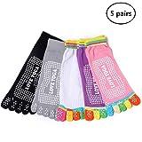 DoGeek Cinq Chaussettes Doigts, Chaussettes Yoga en Coton Lot de 5 Chaussettes Anti-dérapant Femme Chaussette Orteil Complet-Doigts de Pied Séparés Grip Socks (5 Paires)