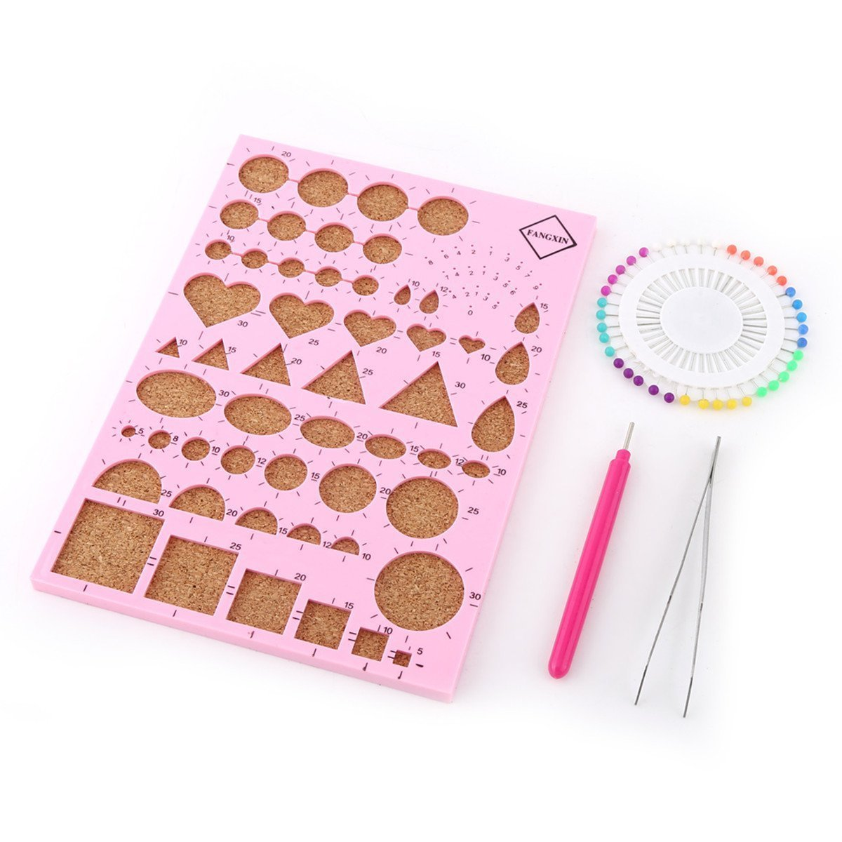 DIY Paper Craft Paper Quilling Template Board Slotted Pen Bead Pins Tweezer Beginner Quilling Tools Kit(8.3x6 Inch) (pink) Walfront TRTBB1414