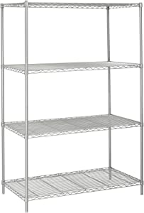 """Safco Products Industrial Wire Shelving Starter Unit 48""""W x 24""""D x 72""""H (Add-On Unit and Extra Shelf Pack sold separately), Metallic Gray"""