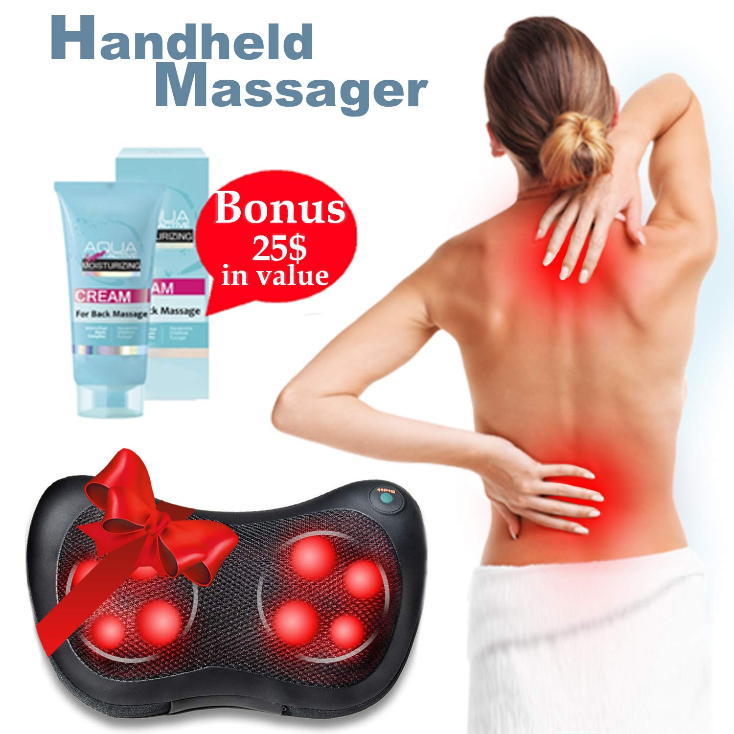 Relieve Muscle Pain With Shiatsu Massager Heating Massaging Pillow With 8 Massage Nods Full Body Massage Cushion For Home, Office, Car, Travel, Neck And Back Pain Relief +European Massage Cream+E-Book