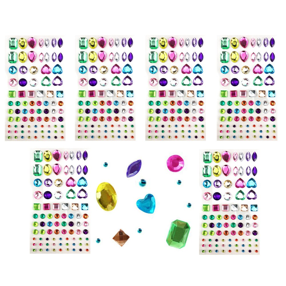 Yexpress 486pcs Sheets Self-Adhesive Rhinestone Sticker, Multicolor Bling Craft Jewels Crystal Gem Stickers, Assorted Size and Shapes, 6 Sheets