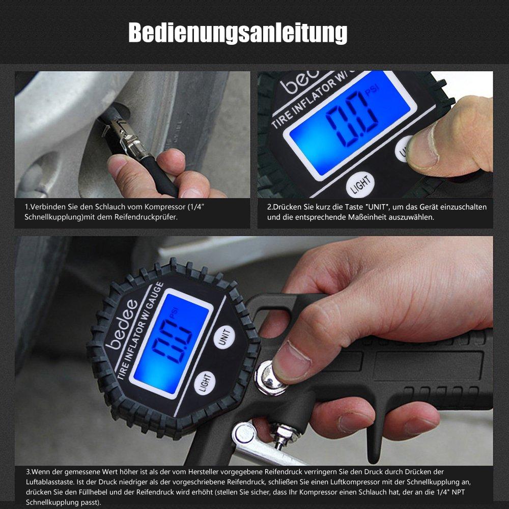 bedee Auto Reifenfüller Gerät Geeicht Manometer Präziser Hochleistungs Reifenfüll Messgerät KFZ Reifendruckprüfer mit 90° Ventil Adapter, Schraubendreher für Auto Motorrad LKW PKW, Einfach zu Bedienen