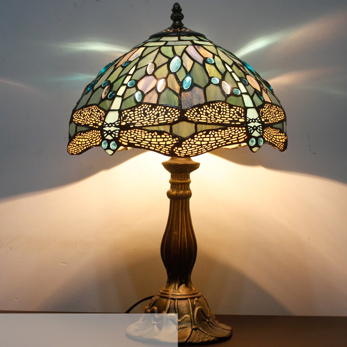 Tiffany Lamp With Sea Blue Stained Glass and Crystal Bead Dragonfly Table Lamp In Height 18 Inch For Living Room by WERFACTORY (Image #7)