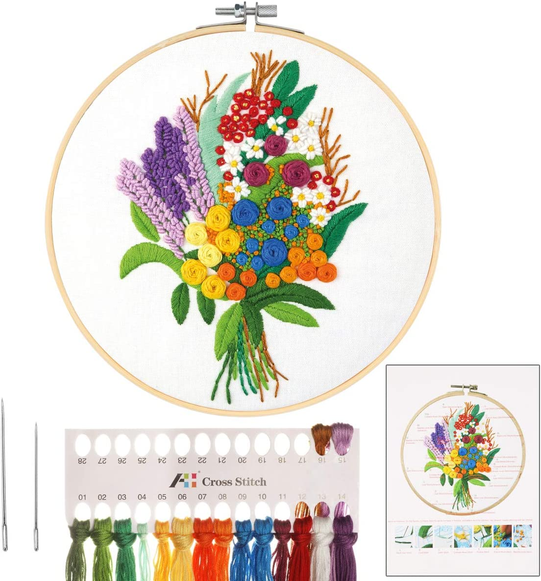 MWOOT Full Range Embroidery Starter Kit with Floral Pattern,DIY Cross Stitch Stamped Embroidery Craft Handmade Art Sewing Kit for Adults Beginner 8 Inch,Style B