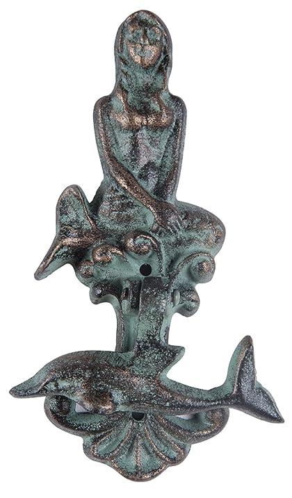 Mermaid And Dolphin Verdi Green Door Knocker Cast Iron