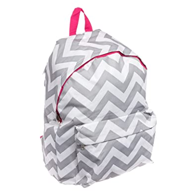 50e41f203f4e Womens Chevron Backpack Bag w  Cell Phone Pouch (Grey   White w  Pink