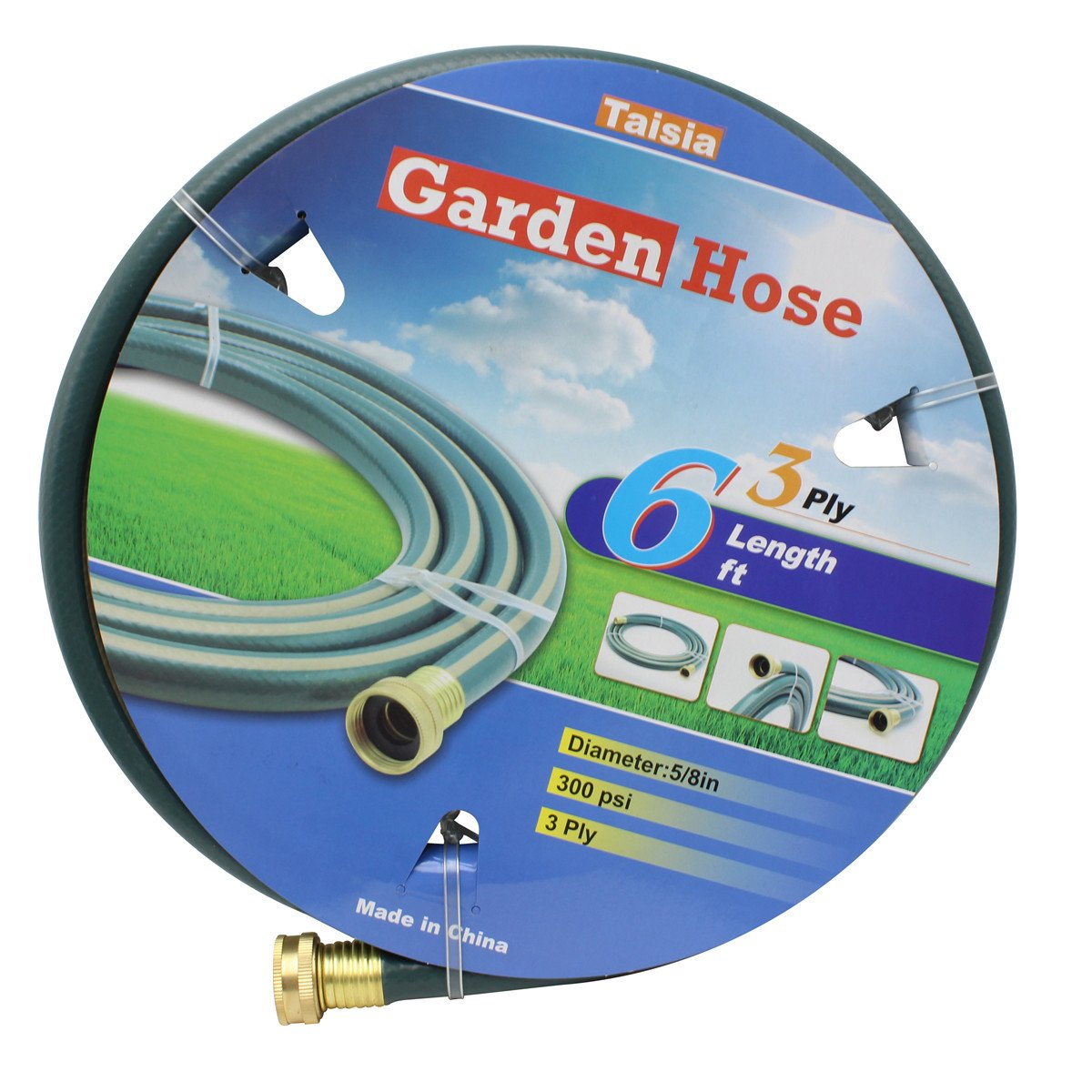 "Taisia Garden/Farm/Water Hose 5/8""X6ft-3PLY- Lead-Free - Great for Gardens/Farm and Ranch (6 FT)"