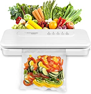 Vacuum Sealer Machine, Dry Moist Food Modes & Compact Design, Automatic Sealing Machine for Food Preservation, Easy to Clean(White)