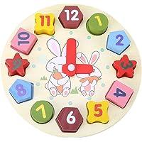 Bloques de madera reloj de geometría digital bebé