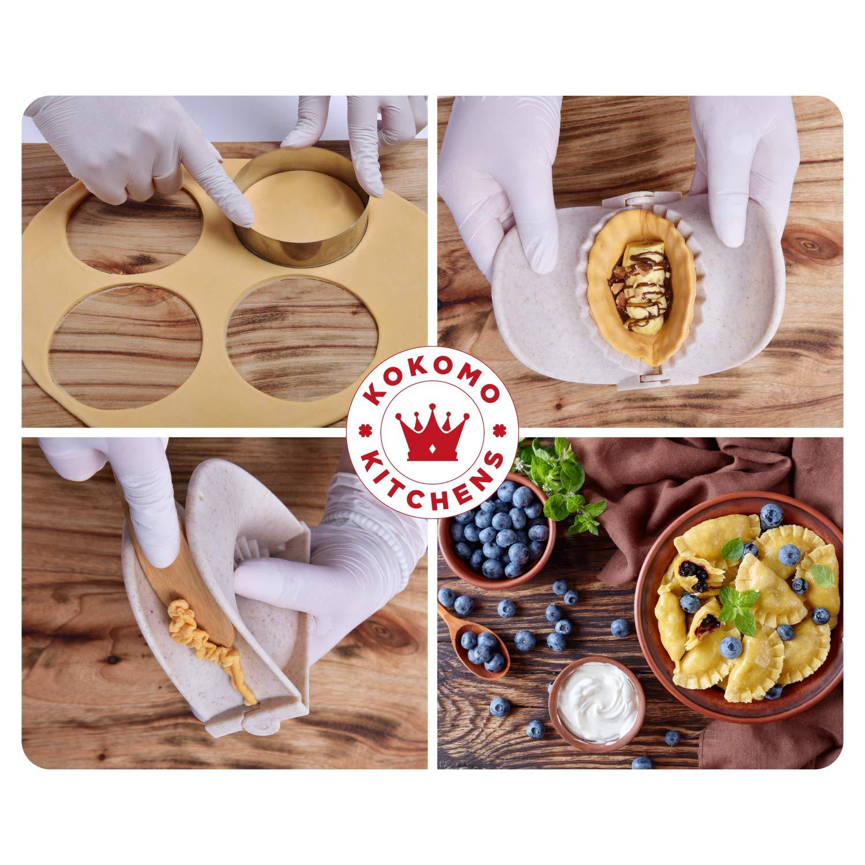 round 3.8 Pierogi wrapper Pie cutter 5pcs BPA free Dumpling Maker 1 ring 4 Ravioli maker Beautiful kitchen accessories for Family KOKOMOKITCHENS 4 Dumpling mold Empanada press Pastry dough