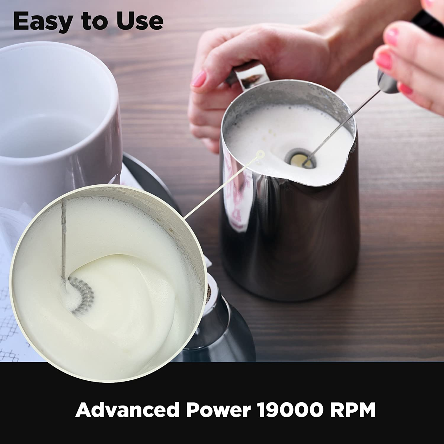 Electric Milk Frother Handheld Whisk Battery Operated Coffee Frother Best Soya Milk Mixer Powerful Latte Cappuccino Frother Wand Free eBook Hot Milk Foam Maker Extra Whisk