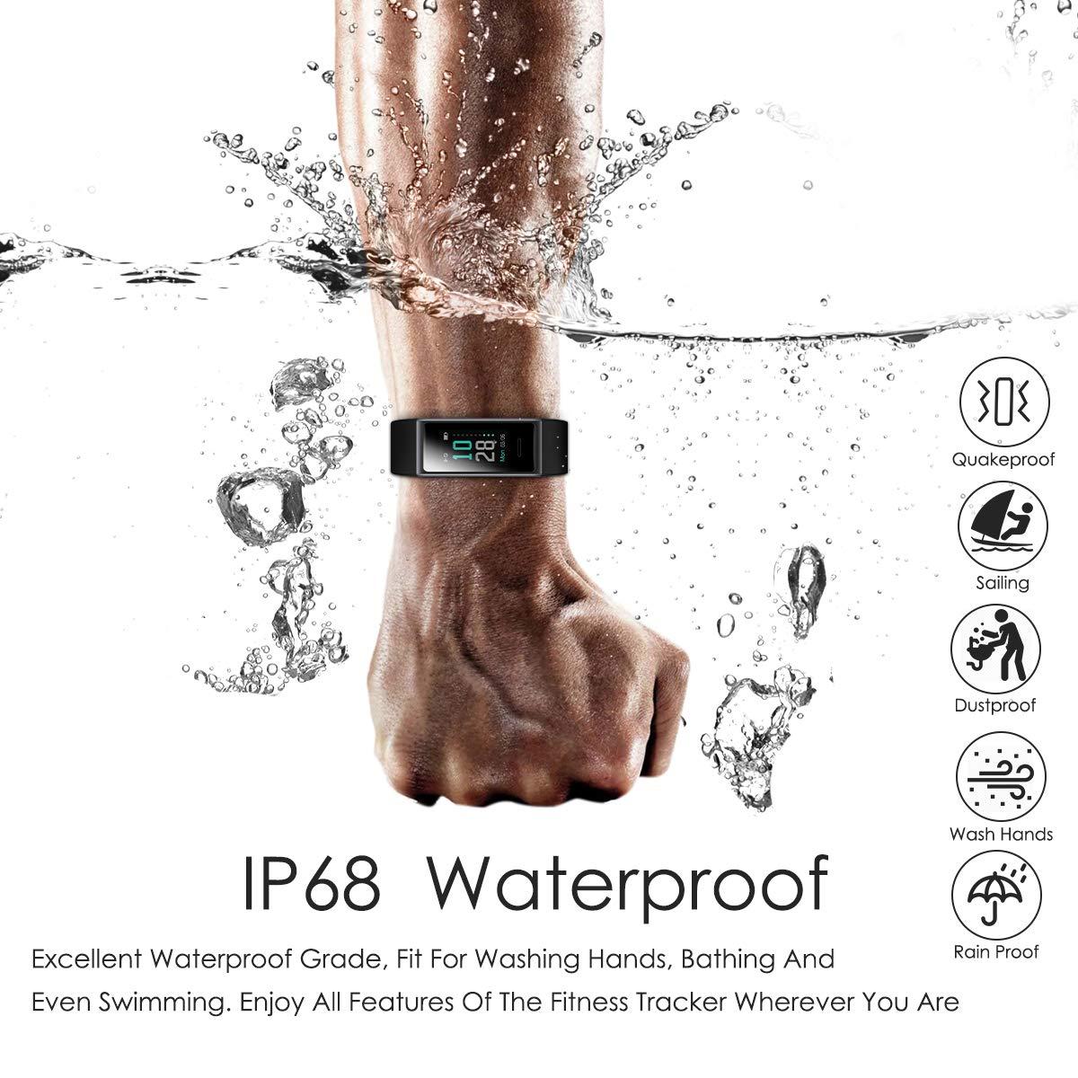 CHEREEKI Pulsera Actividad, Pulsera de Actividad IP68 con Pulsómetro y Presión Arterial, 0.96\