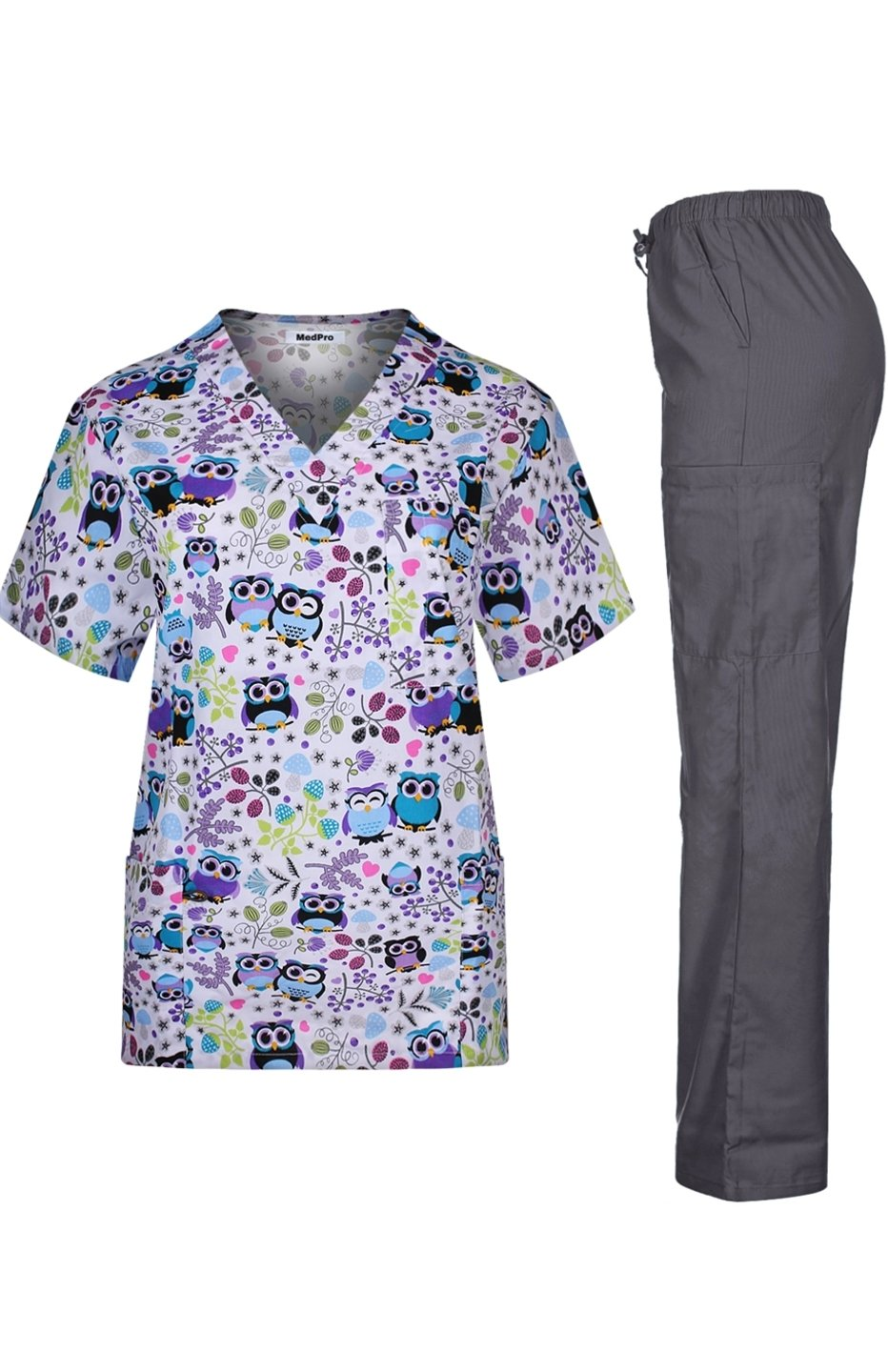 MedPro Women's Medical Scrub Set with Printed V-Neck Top and Cargo Pants   White Purple L