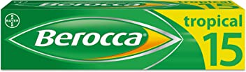 Berocca Energy Vitamin Tablets Tropical Flavour, High Dose of Vitamin B Complex, Vitamin B12, Also Contains Vitamin C and Magnesium, Pack of 15 - 2 Weeks Supply