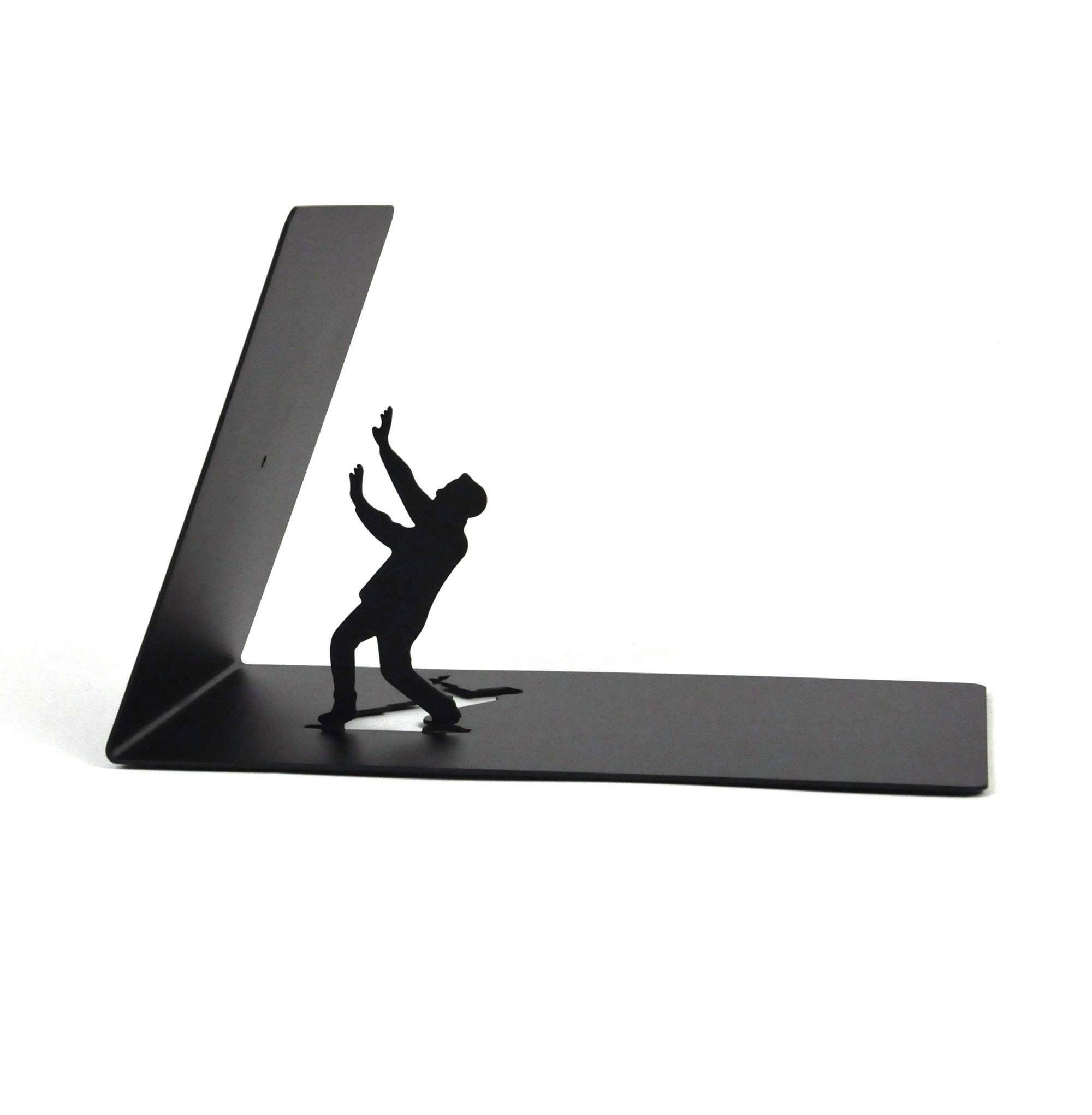 Artori Design | Falling Bookend | Falling Books Black Metal Bookend | Cool Bookends | Decorative Art | Book Stopper | The
