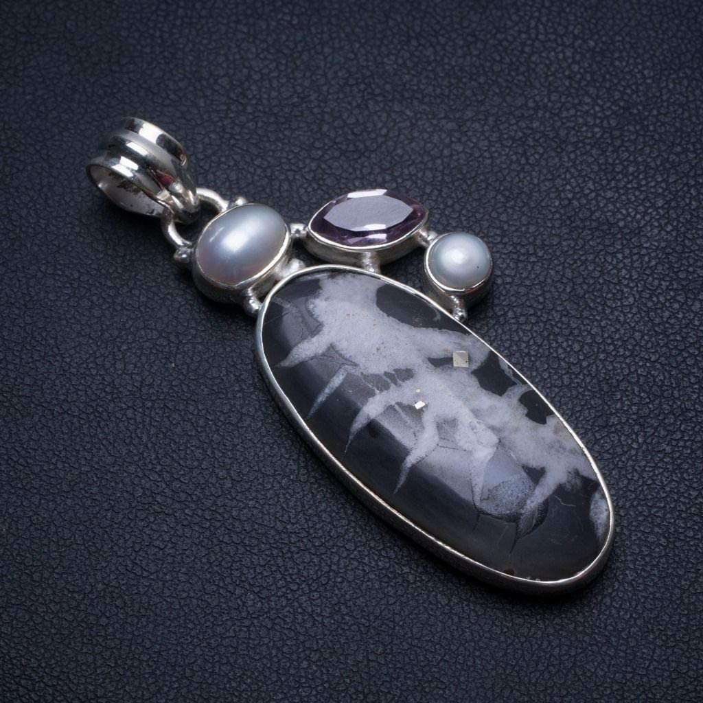 Natural Septarian Geode,River Pearl and Amethyst Handmade Unique 925 Sterling Silver Pendant 2 1//4 T2668