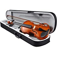 Melodic 2/4 Size Acoustic Violin Handcrafted Fiddle Starter Kit 4-String Natural Varnish Finish with Case Bow Rosin