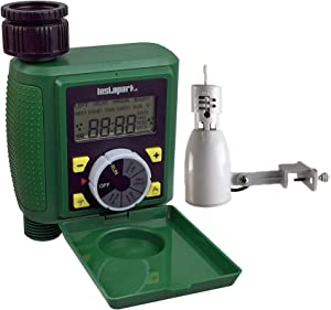 Instapark PWT-07 Single Outlet Programmable Hose Faucet Timer Includes Wired Rain Sensor with Mount
