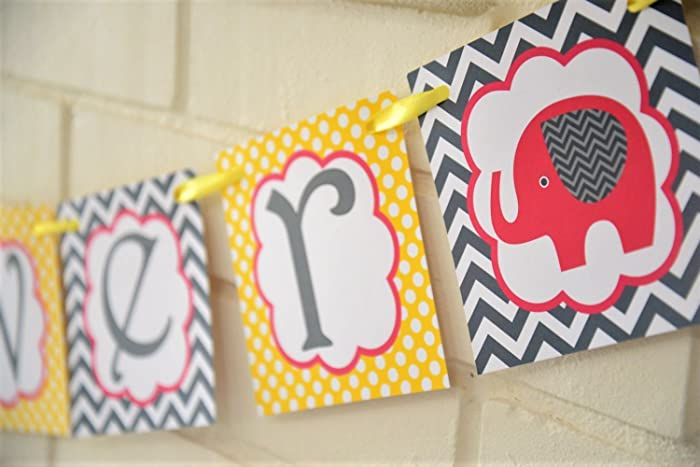 Amazon Hot Pink And Yellow And Gray Elephant Baby Shower Banner