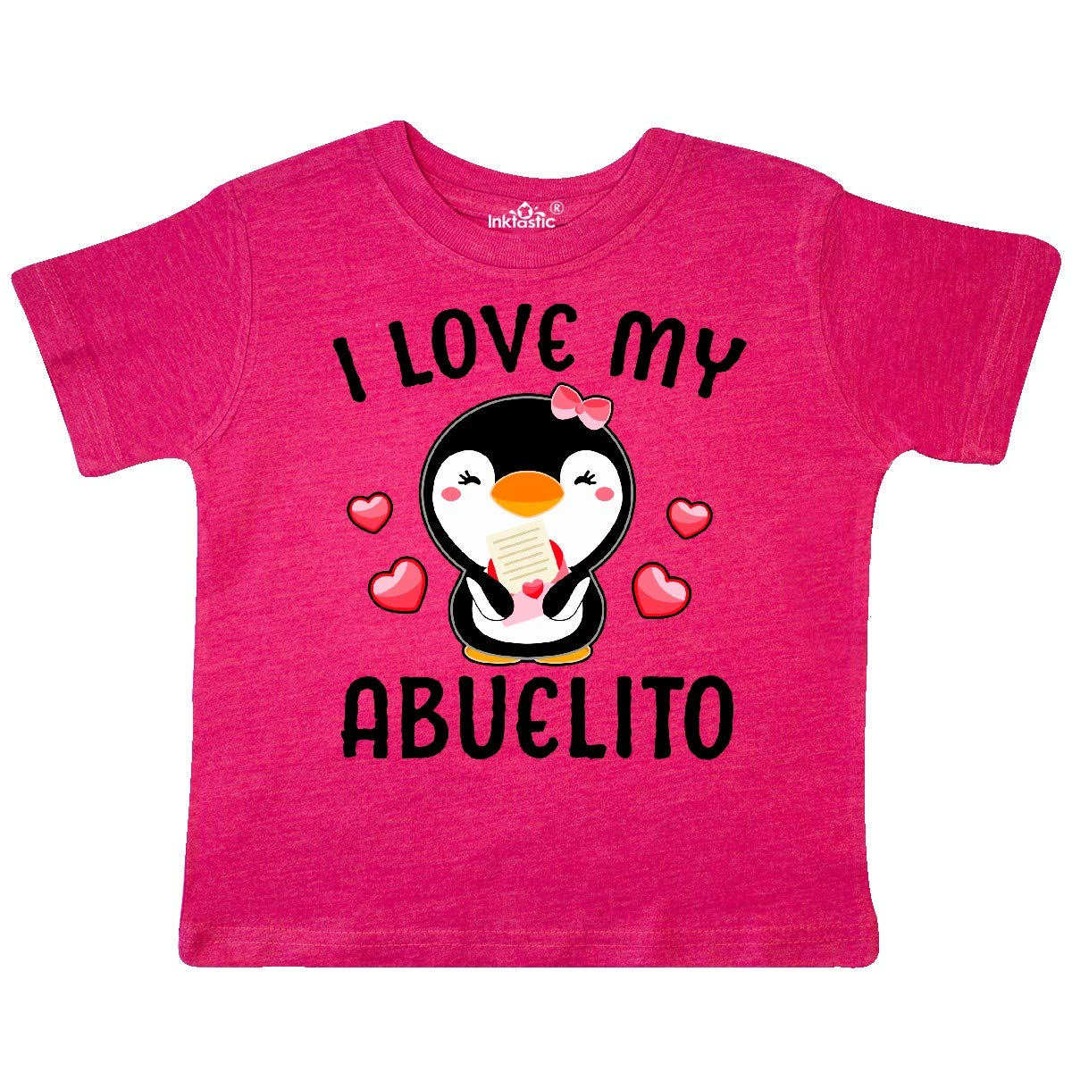 inktastic I Love My Abuelito with Cute Penguin and Hearts Toddler T-Shirt