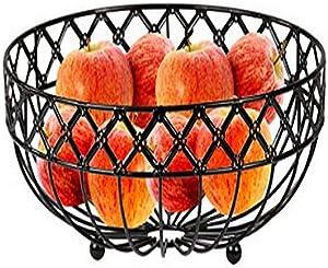 Home Basics Lattice Collection Powder Coated Steel Fruit Basket, Elegant Design, Centerpiece Bowl for Living Room, Dining Table & Kitchen Table, Black (1)
