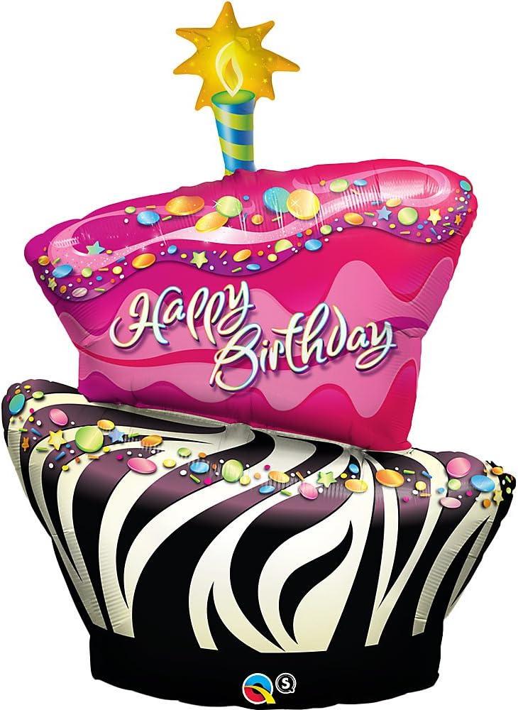 Astonishing Amazon Com Funky Zebra Birthday Cake Foil Balloon Kitchen Dining Funny Birthday Cards Online Fluifree Goldxyz
