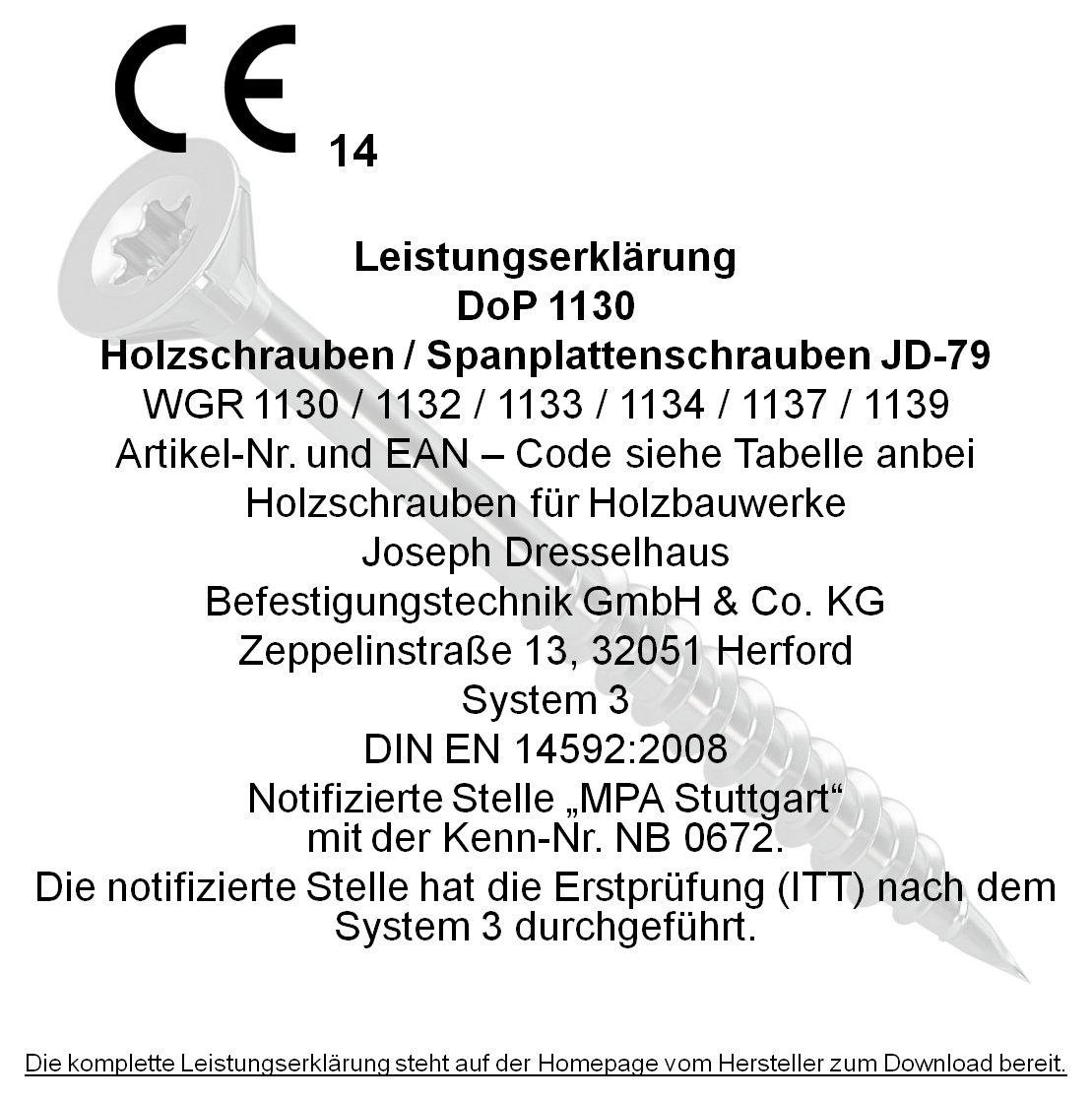galvanisch verzinkt gelb chromatiert Dresselhaus 0//1139//021//3,0//16// //03 JD-79-Universalschraube mit Senkkopf und Fr/äsrippen 3 x 16 mm I-Stern und Vollgewinde 3 x 16 1000 St/ück