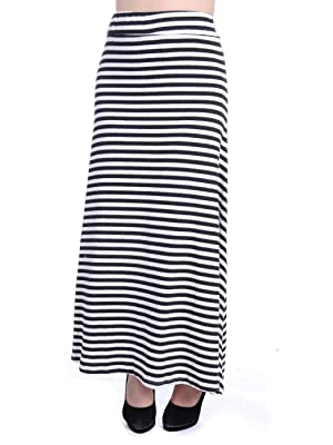 Anna-Kaci S/M Fit Black and White All Over Horizontal Stripes Pointed Hem Skirt