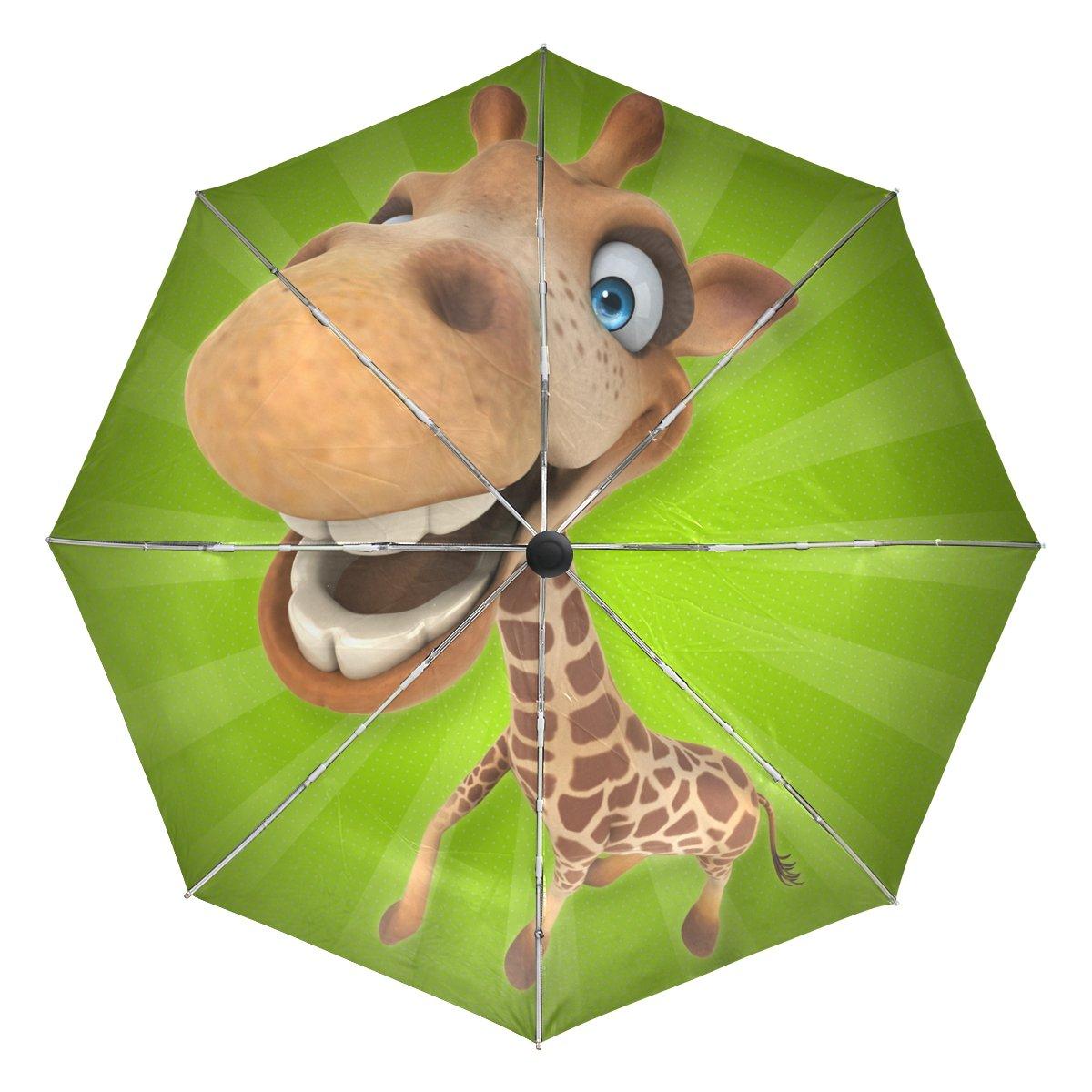 MAPOLO Fun Giraffe Cartoon Windproof Foldable Rain Travel Canopy Umbrella Auto Open Close Button