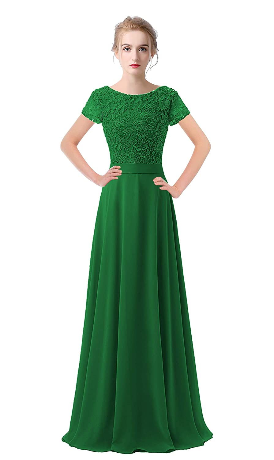 Green VaniaDress Women Lace Short Sleeves Long Evening Dress Prom Gown V061LF