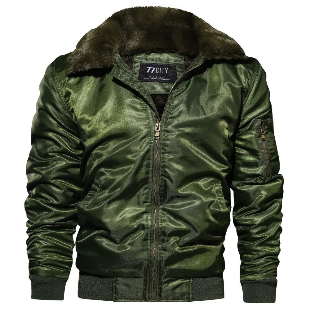 Faionny Men Cotton-Padded Jacket Loose Flight Suit Coat Thickening Coat Zipper Parka Solid Blazer Autumn Winter Outwear