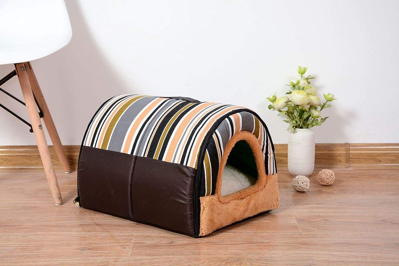 CJDCJ Semi-Enclosed Tunnel Kennel Cat Litter Pet Nest Pet Pad Rainbow Strip Brown 58X40X35Cm