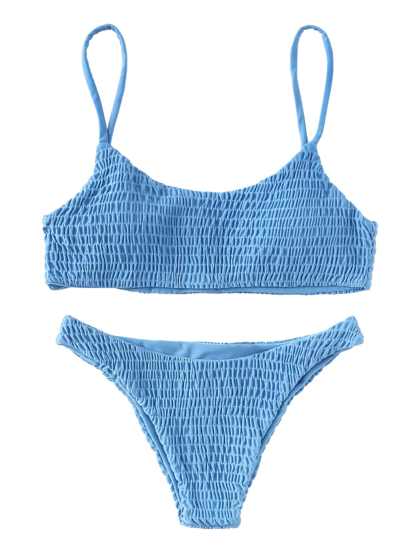 SweatyRocks Women's Sexy Bathing Suit Solid Color Halter Shirred Bikini Swimsuit Blue M