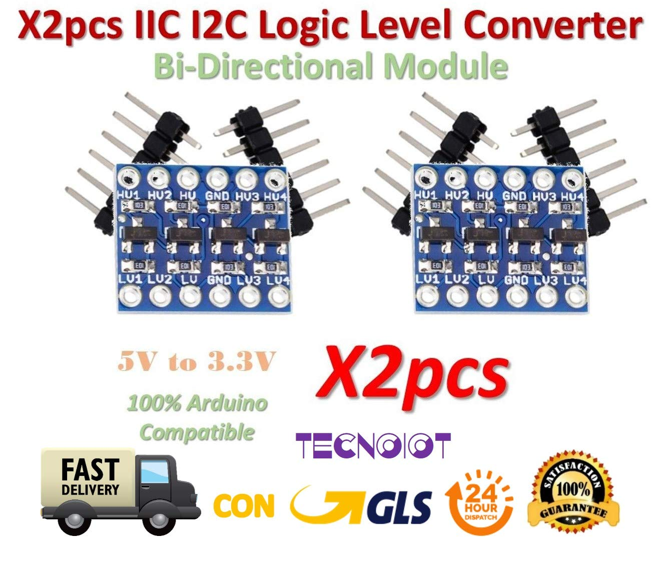 iHaospace 5 Pcs 4 Channel IIC I2C Logic Level Converter Bi-Directional Module 5V to 3.3V For Arduino