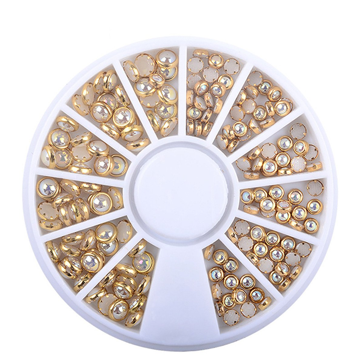 d84e4048301f Amazon.com   1 Box AB Beige Metal Edge Glitter Nail Beads Studs Beauty Charm  Nail Art DIY Pearls Decorations Wheel Half Round Pearls Metal Rhinestone 3D  ...