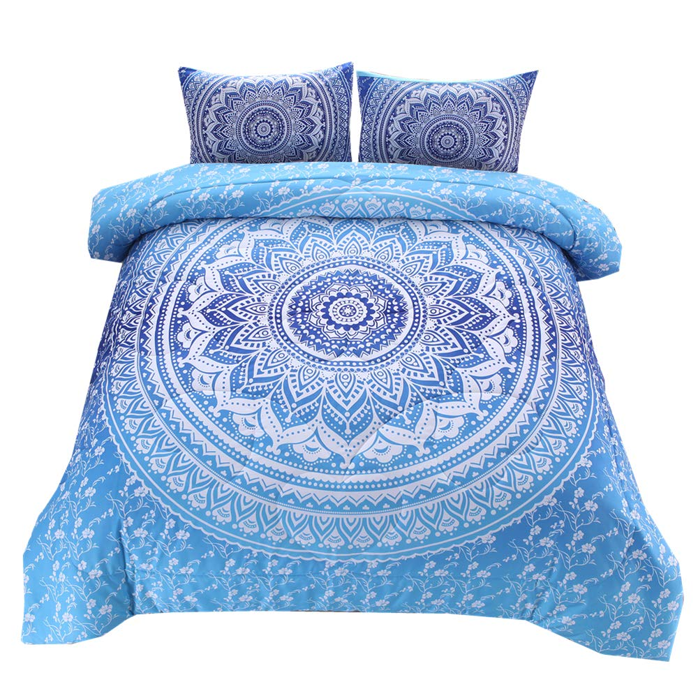 NTBED Bohemian Comforter Sets Queen Lightweight Soft 3-Piece Microfiber Bedding Boho Mandala Medallion Printed Quilt Set with 2 Matching Pillowcases (Blue, Queen)