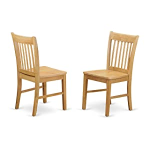 East West Furniture NFC-OAK-W Dining Chair Set with Wood Seat, Oak Finish, Set of 2