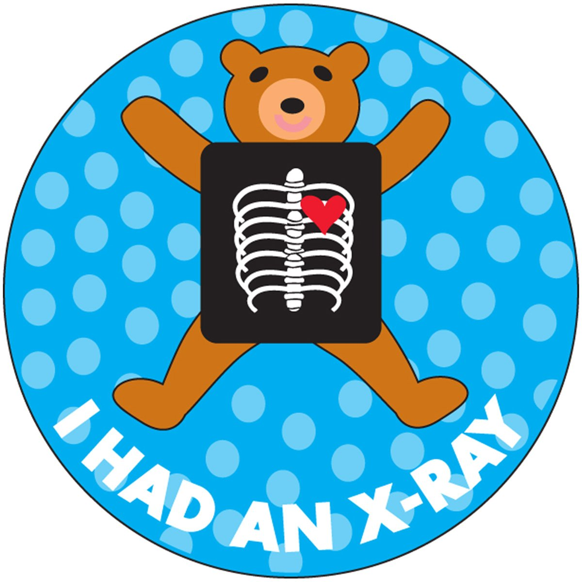 PDC Healthcare 59708879 Label Paper, Pediatric Award Sticker 'I Had An X-Ray', Permanent, Blue (Pack of 250)