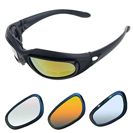 76b616a2137 Amazon.com  Motorcycle Riding Glasses Kit - with Easy Swap 4 lens colors  kit (1 full kit with 9 accessories)  Automotive