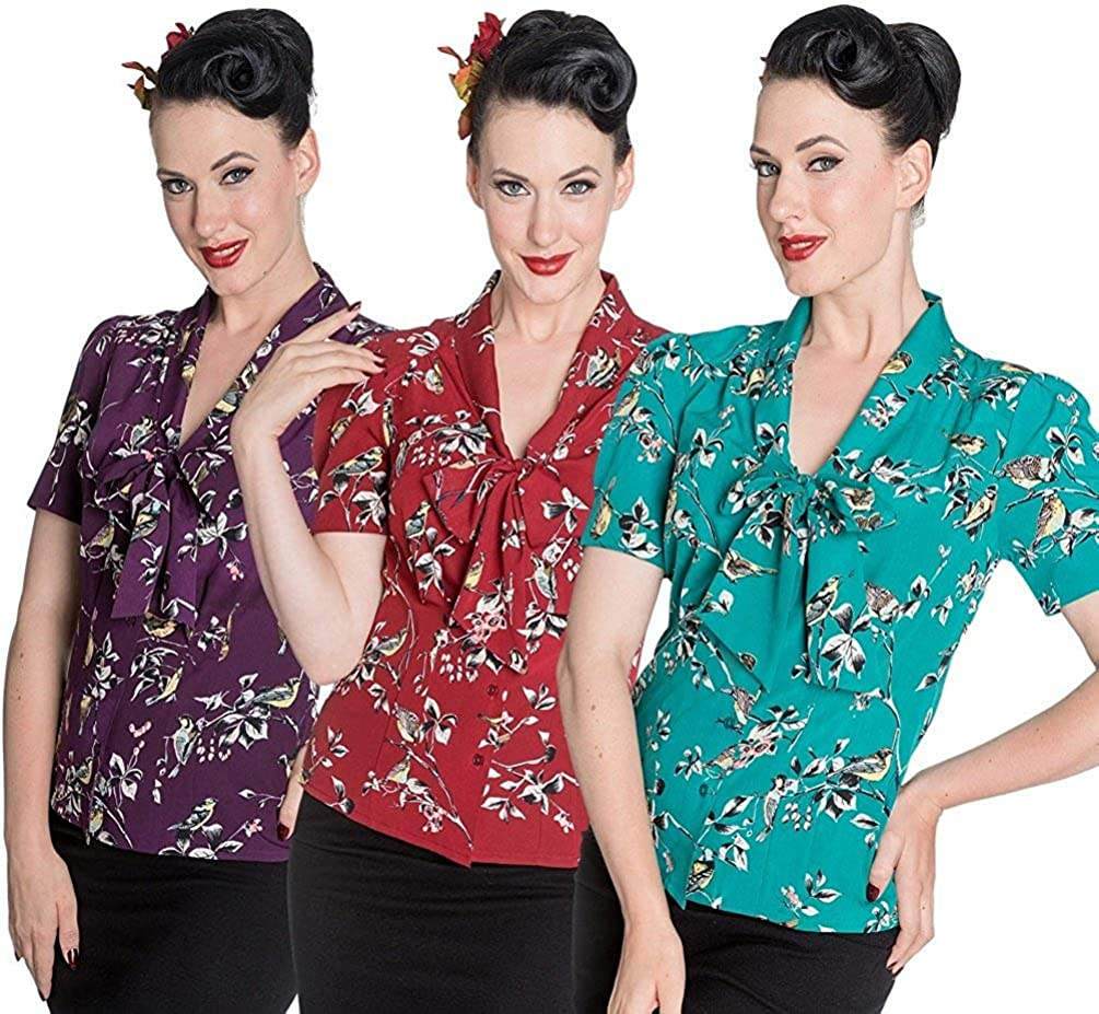 50s Shirts & Tops Hell Bunny Birdy 40s 50s Pin Up Landgirl WW2 Retro Vintage Style Blouse Top $28.00 AT vintagedancer.com