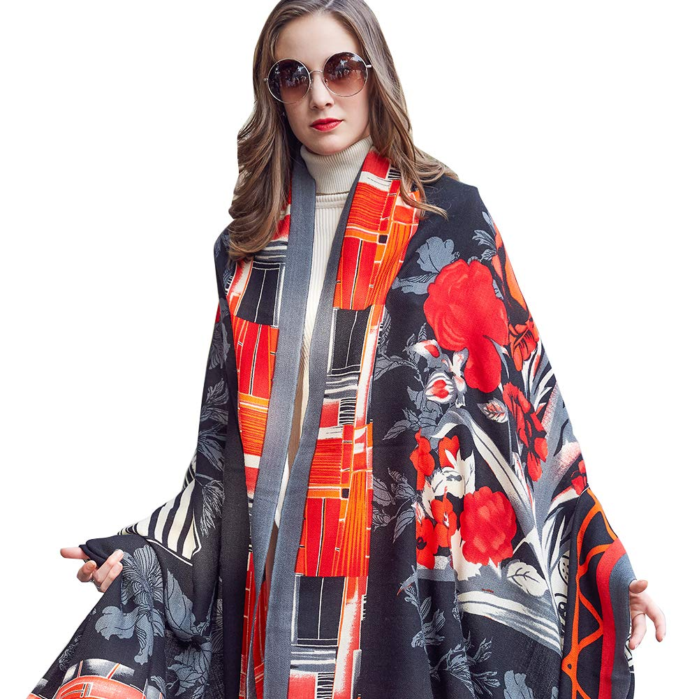 Black&Red DANA XU 100% Pure Wool Women Winter Large Scarf Pashmina …