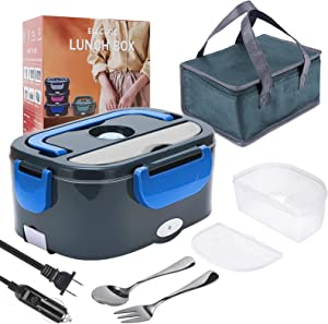 Electric Lunch Box, 2 in 1 Portable Food Warmer Heater Lunch Box for Car, Truck, Work, Home & Office- 110V/12V 24V 40W, Removable 304 Stainless Steel Container 1.5L, SS fork & spoon and Carry Bag